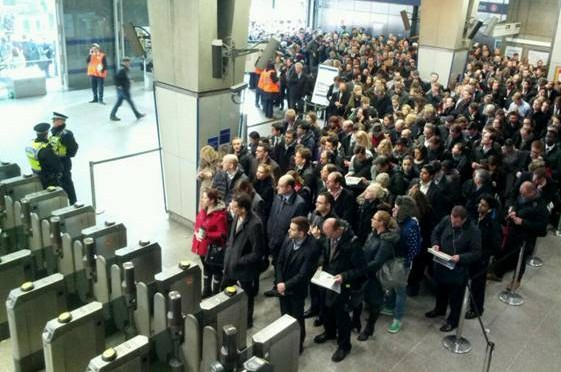London Tube Strikes commuters stuck at station