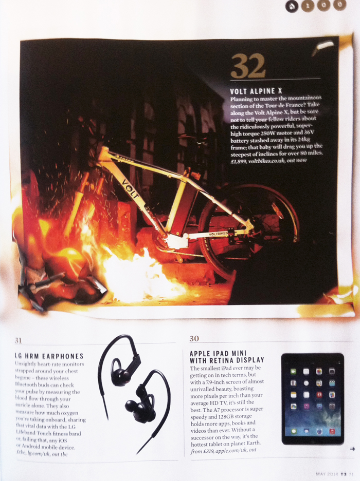 Photo of Alpine electric mountain bike in T3 Hot 100 2014 magazine article