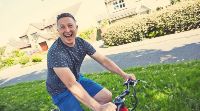 happy cyclist on a volt pulse electric bike