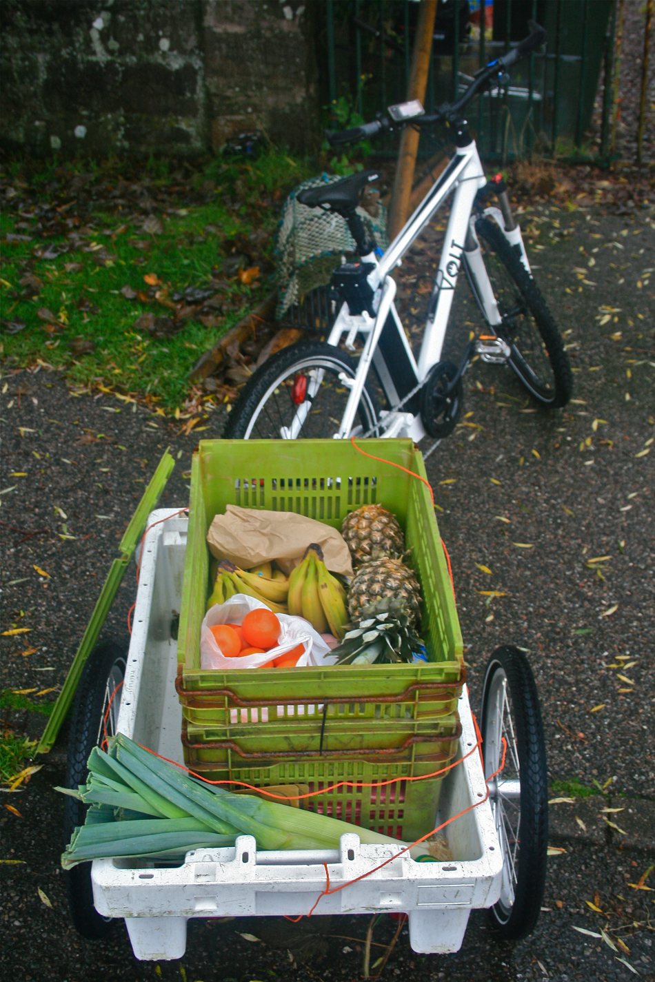 Groceries on a trailer of VOLT e-bike