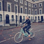 Lady on VOLT Kensington cycling through London