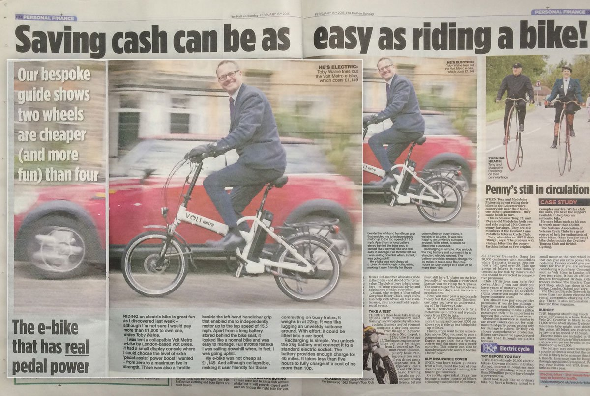 E-bike article in Mail On Sunday