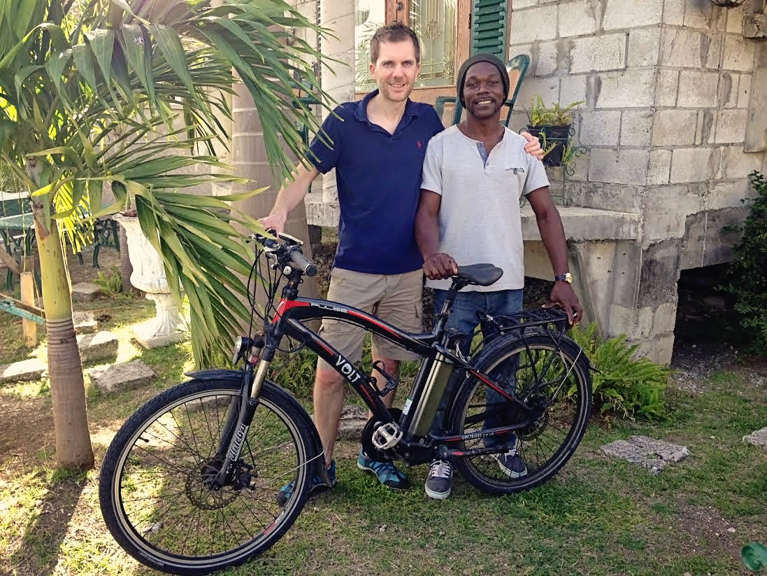 Managing director of VOLT with customer from Barbados