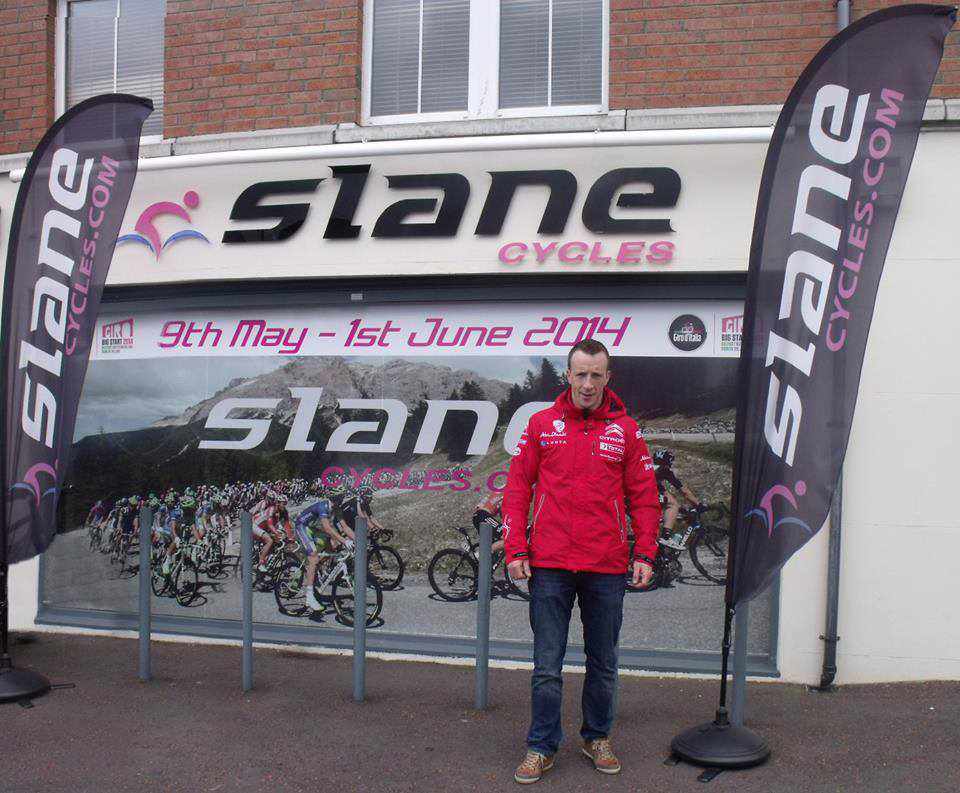 Kris Meeke FIA World Rally Championship Driver outside Slane Cycles
