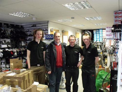 Some of the Slane Cycles team with cycling legend Sean Kelly
