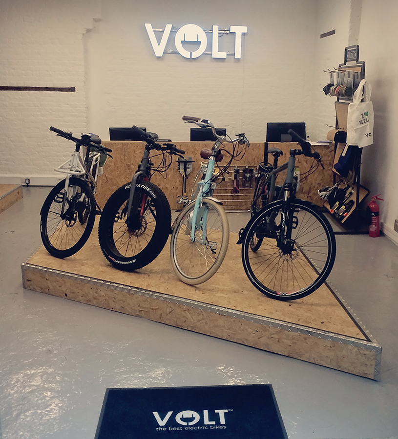 Section of the new VOLT e-bike showroom in London