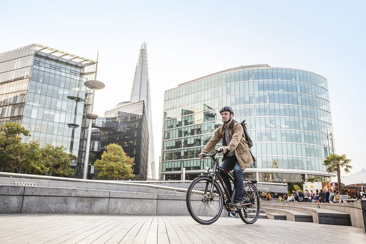 VOLT Pulse Hybrid e-bike being ridden in London