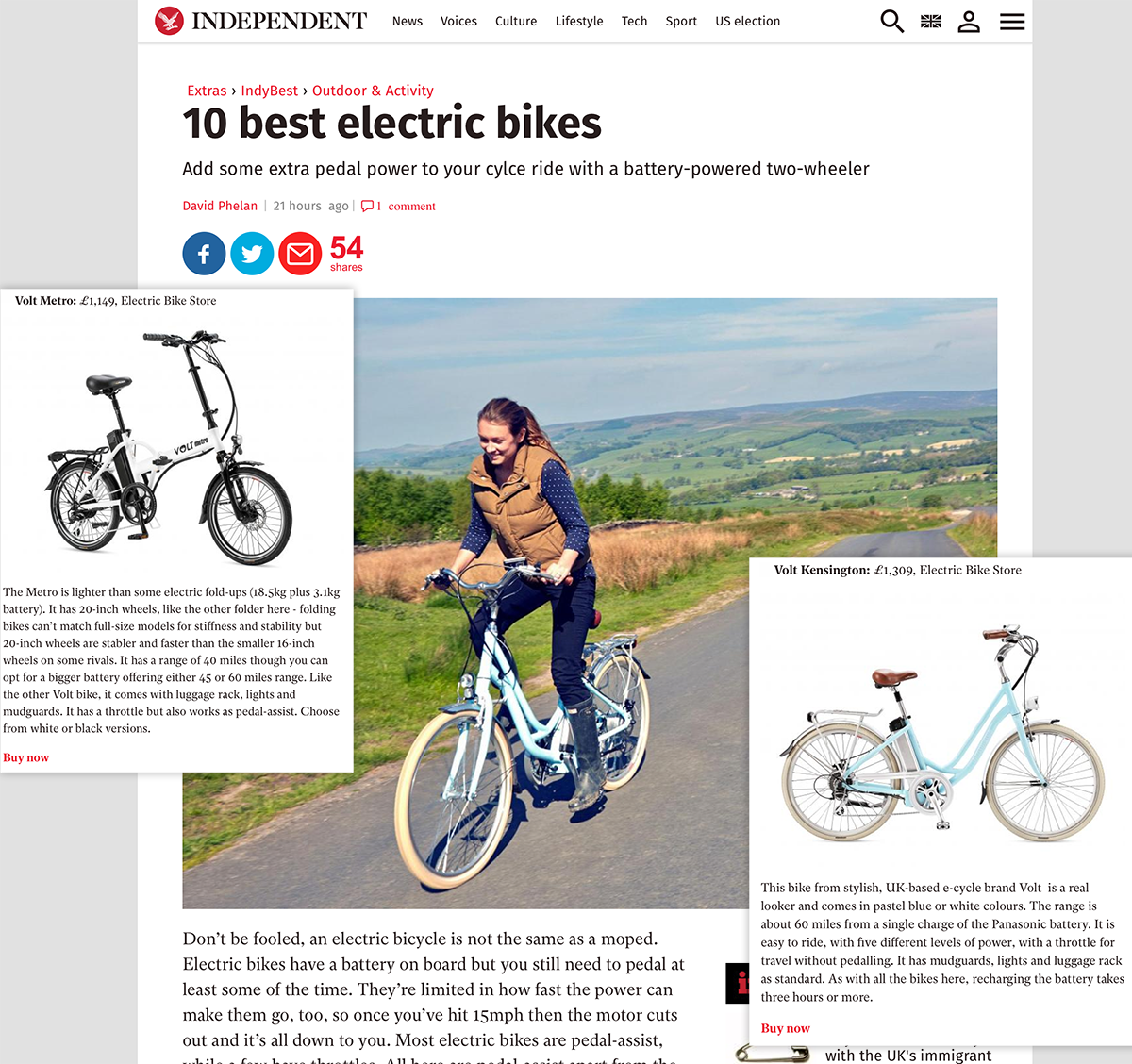 10 best electric bikes feature in Independent