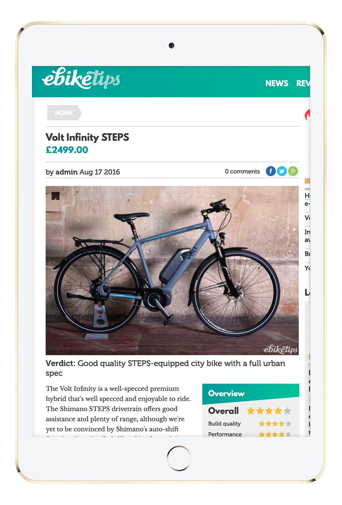 Ebike Tip website displayed on tablet