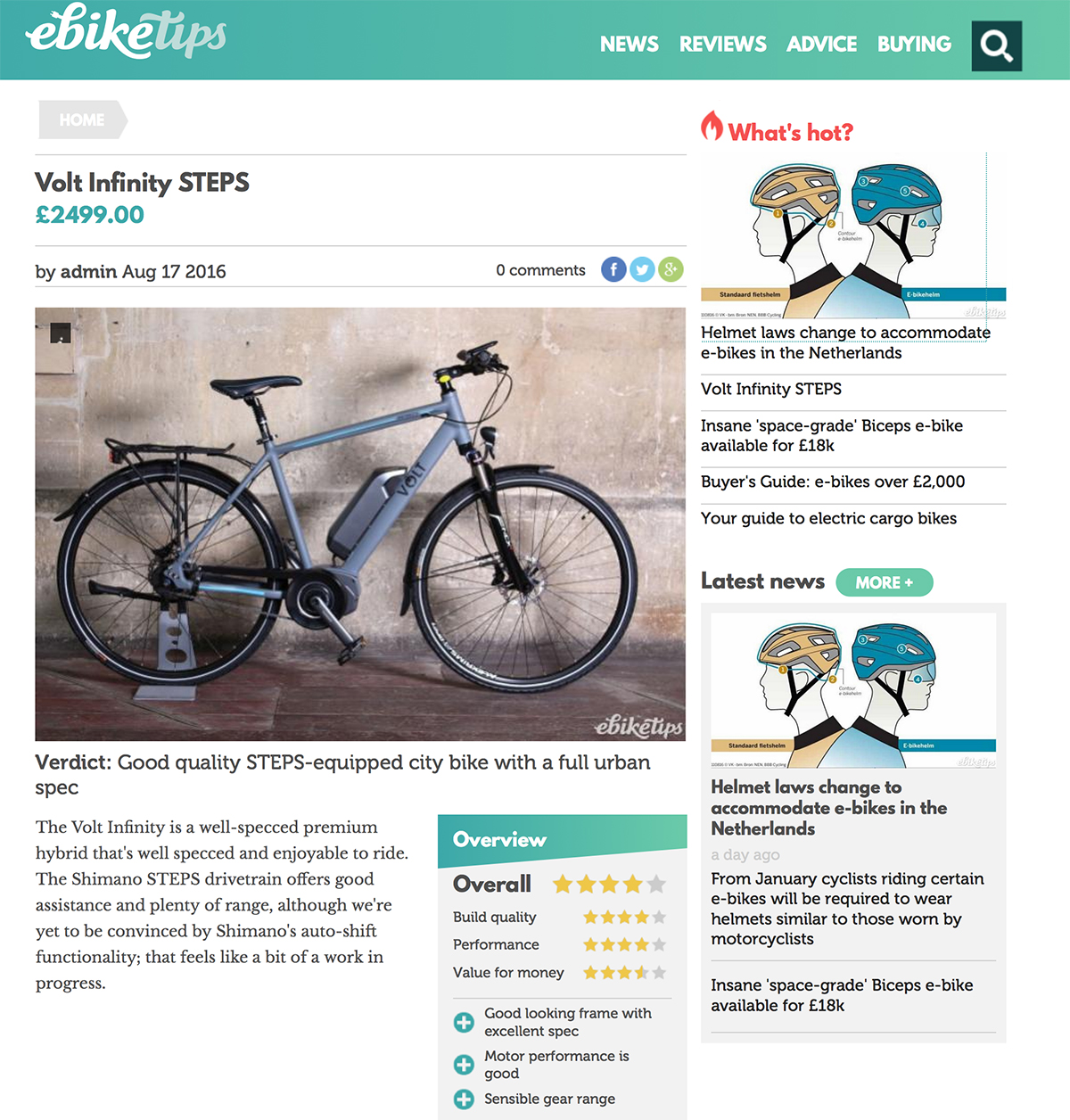 Screenshot of Ebike Tips review on the VOLT Infinity