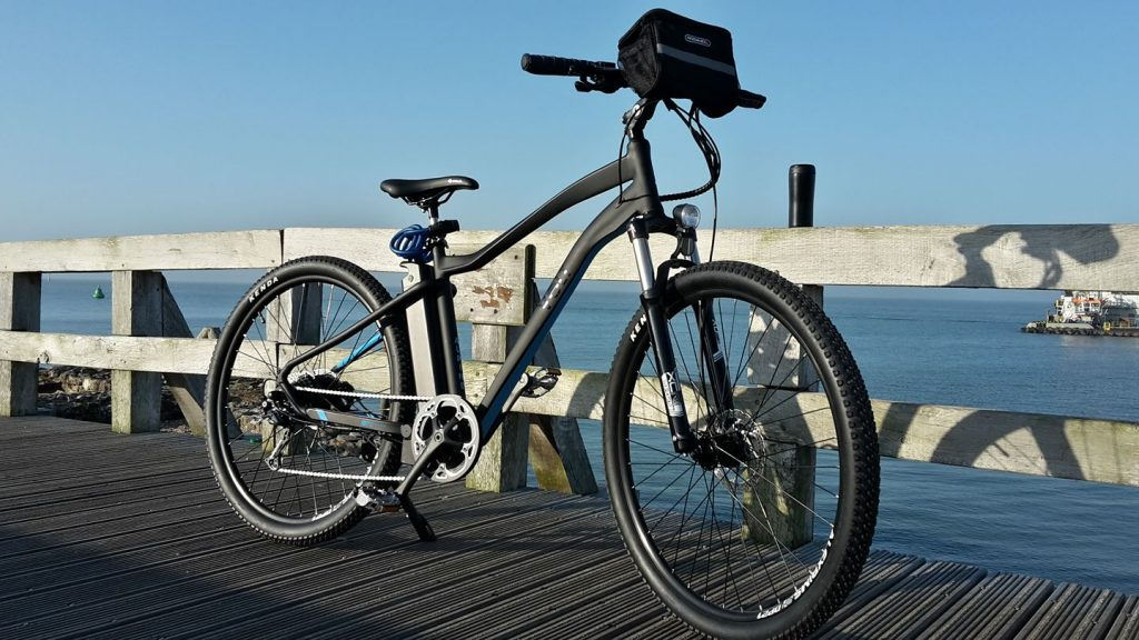 VOLT Alpine electric mountain bike on the pier in Portsmouth, United Kingdom