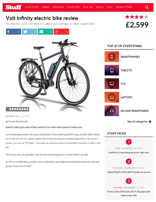 Stuff Magazine website features a review on the VOLT Infinity e-bike