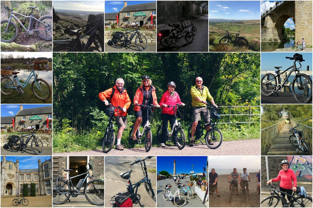 Collage of VOLT e-bike cyclists