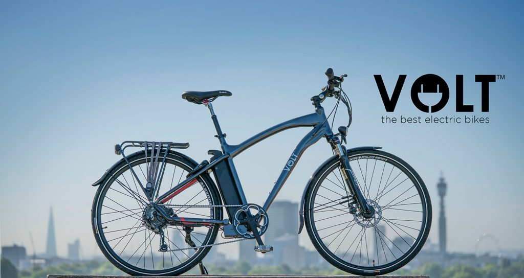 The VOLT Pulse e-bike parked in front of the London skyline