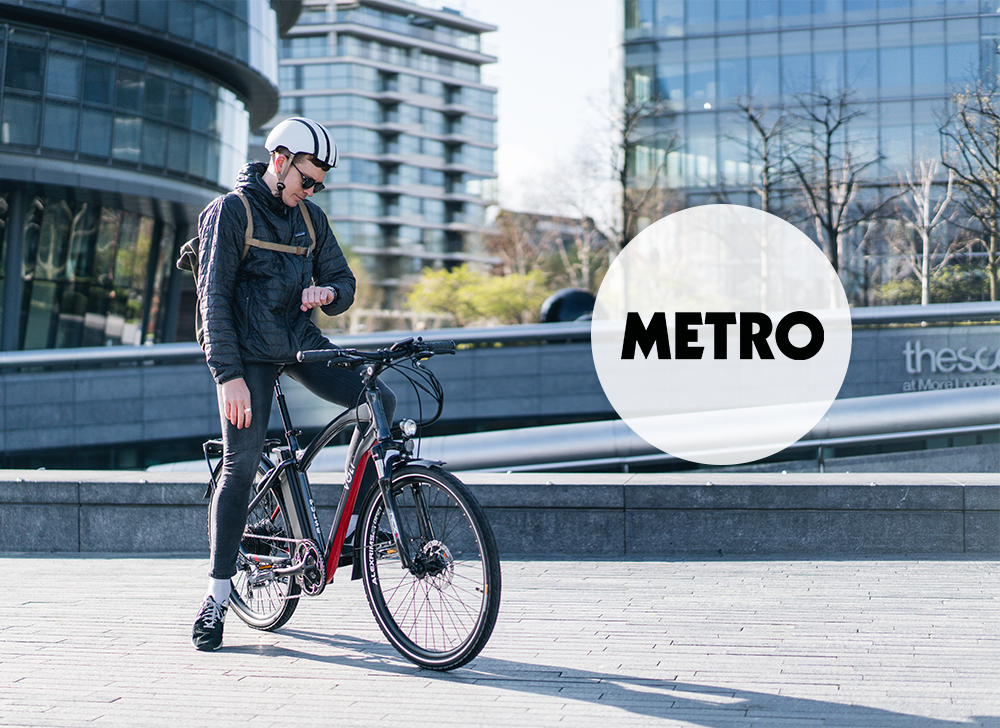 A cyclist commutes through London on his VOLT Pulse