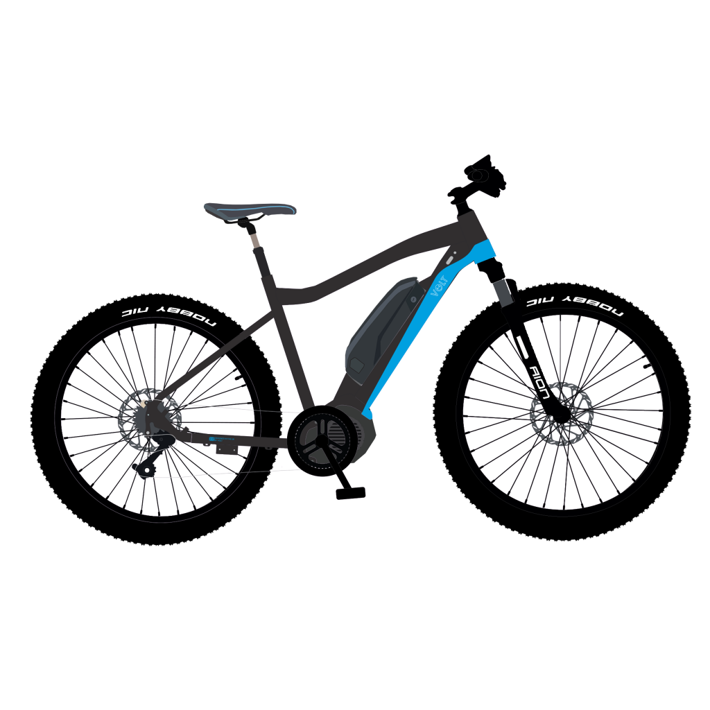A graphic illustration and artistic impression of a new e-bike called Apex. Features a central crank motor, shimano deore 10 speed gears and suntour suspension