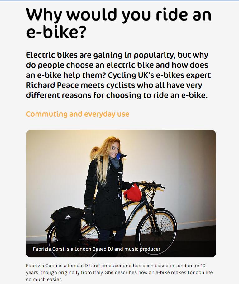 ScreenGrab of Cycling UK Article
