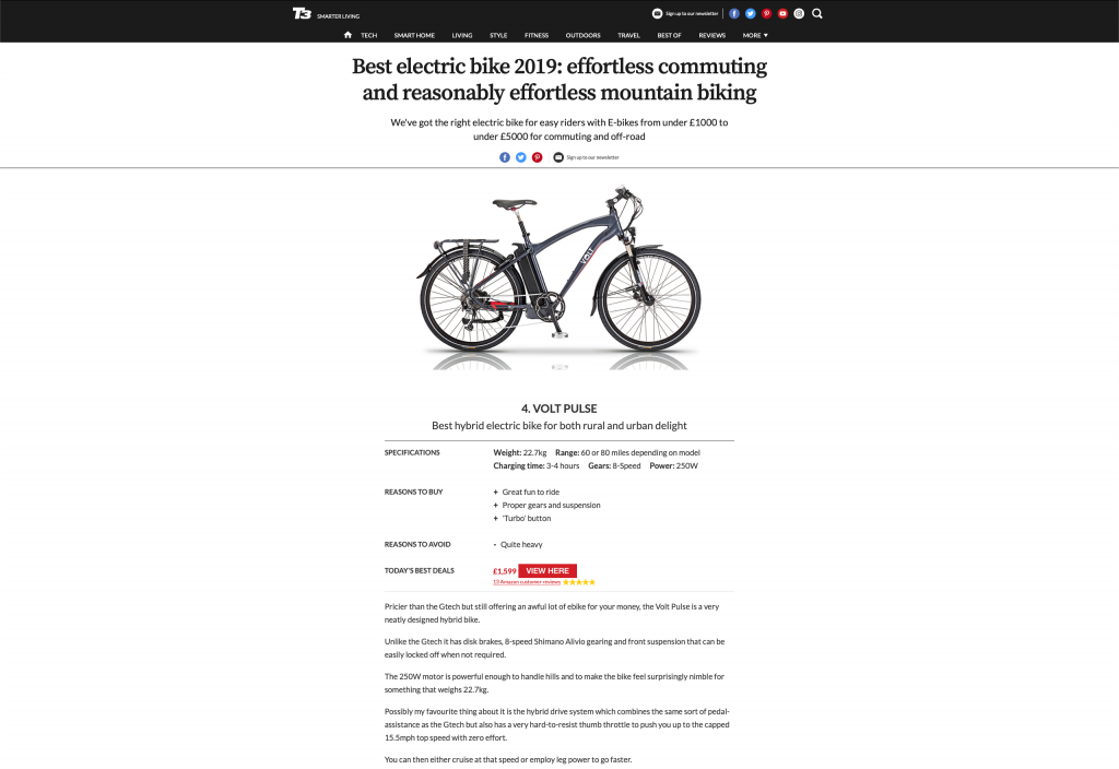T3 Best hybrid electric bike of 2019