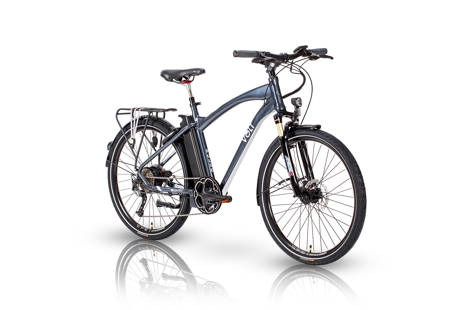 Pulse Hybrid electric bike, studio photograph viewed at an angle with a white background