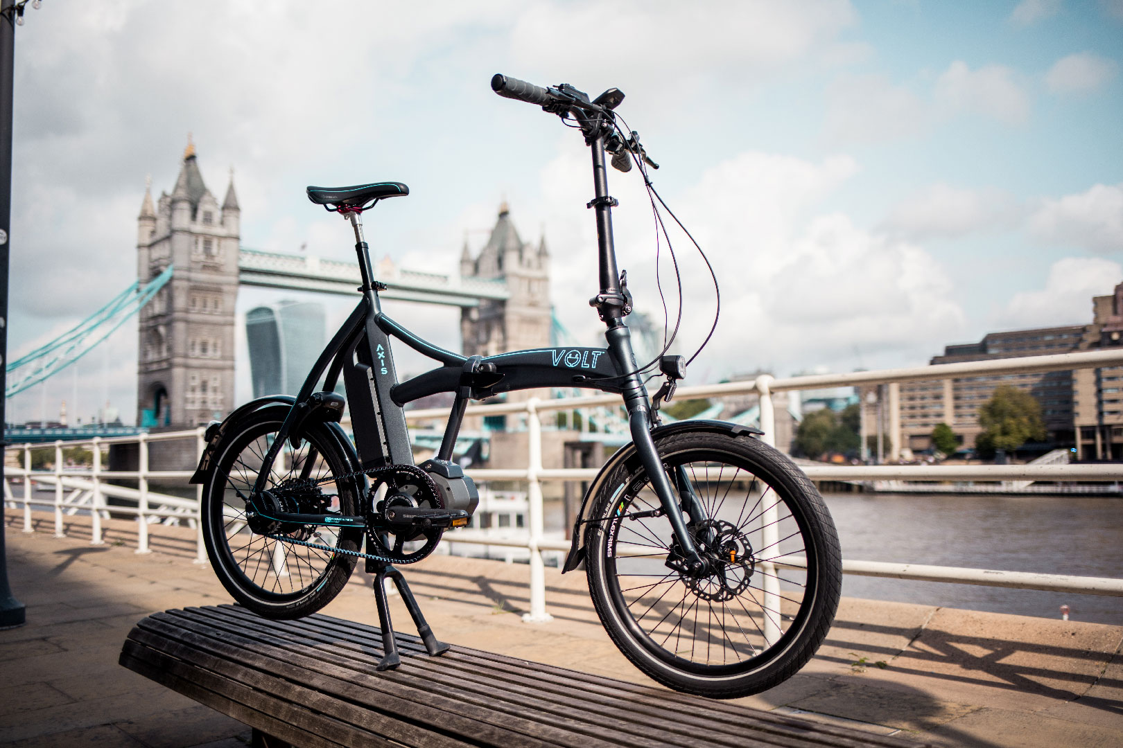 Volt Axis Folding Shimano STEPS ebike in front of Tower Bridge