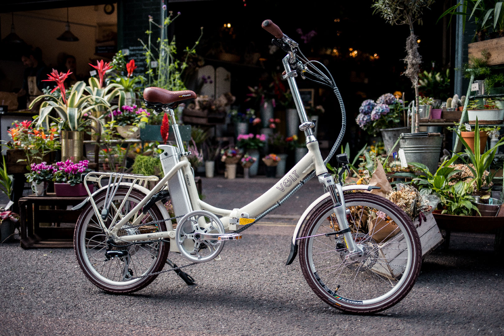 Volt Metro LS Cream Folding ebike in Borough Market London Bridge