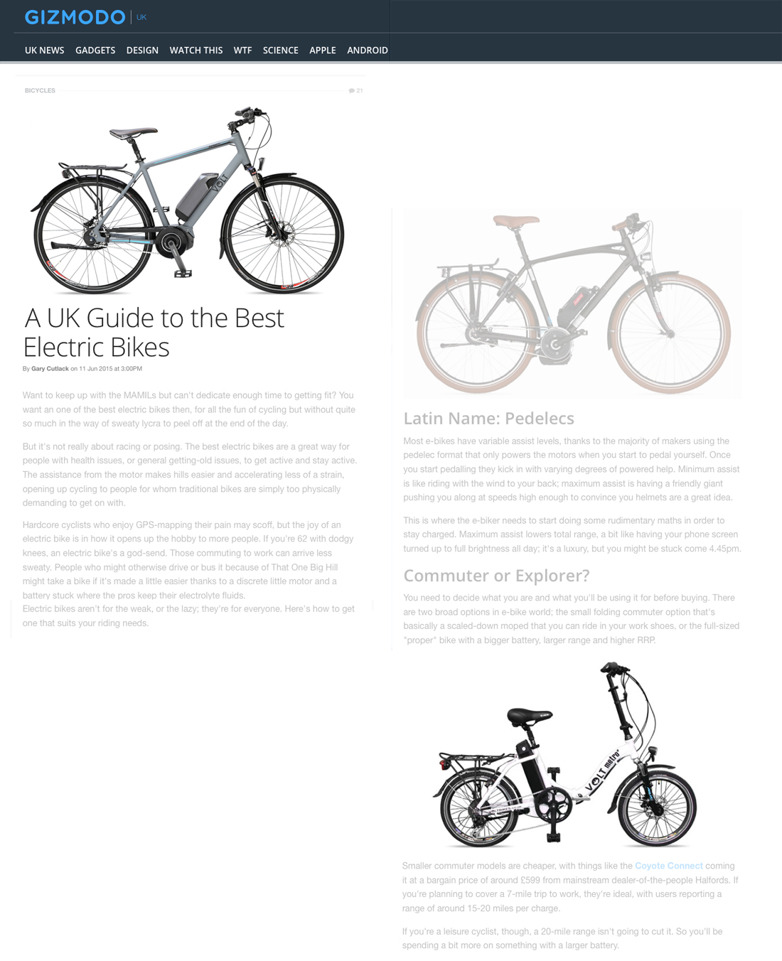 VOLT e-bikes: infinity and metro featured in Gizmodo article