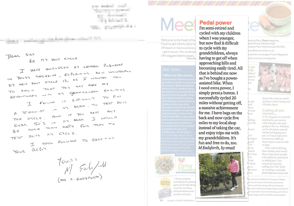 Your Magazine letter on e-bike purchase