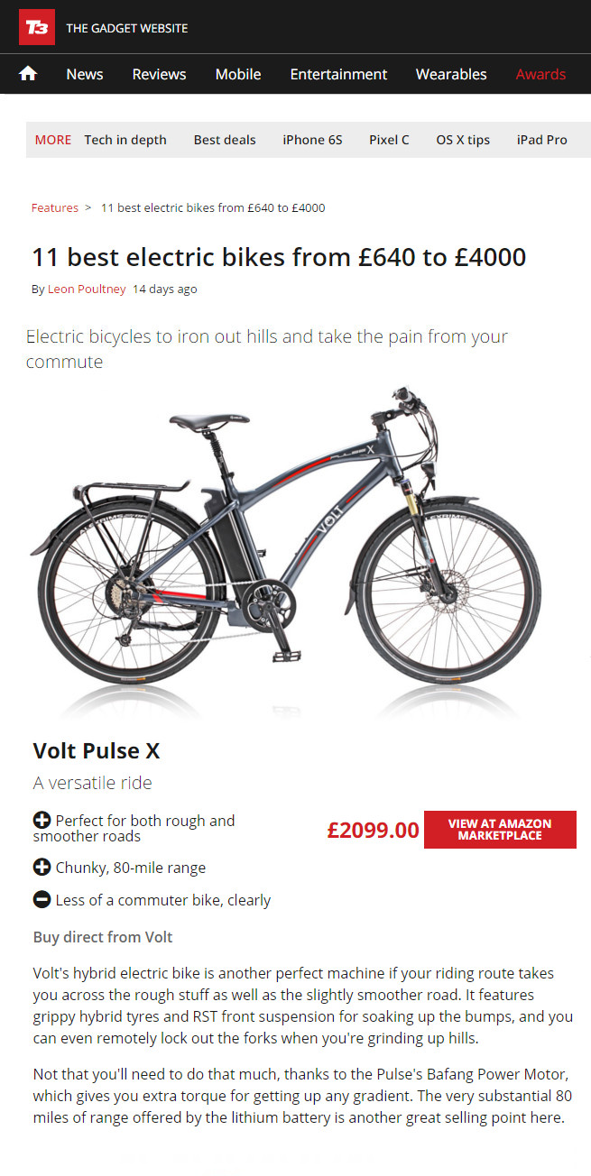 Pulse X in T3 Best 11 electric Bikes